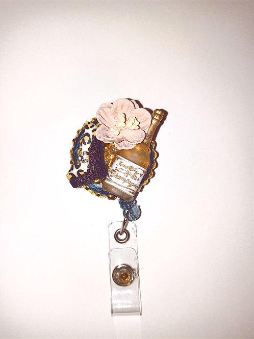 Champagne Rhinestone Badge Reel