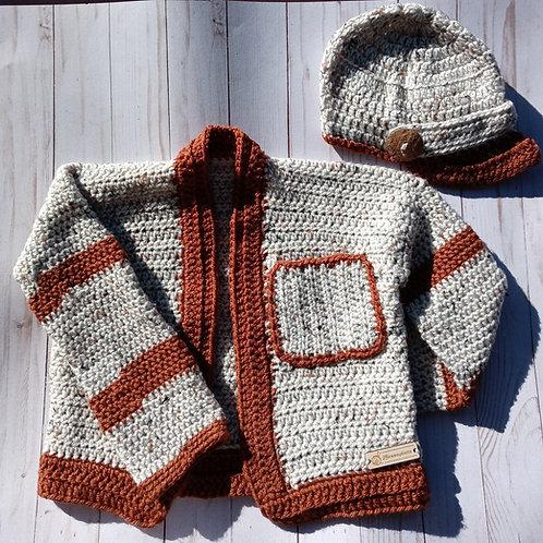 Cardigan & matching paigeboy hat set