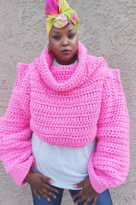 Pink Friday Cropped  Sweater Pattern