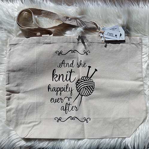 And She Knit Happily Ever After tote bag
