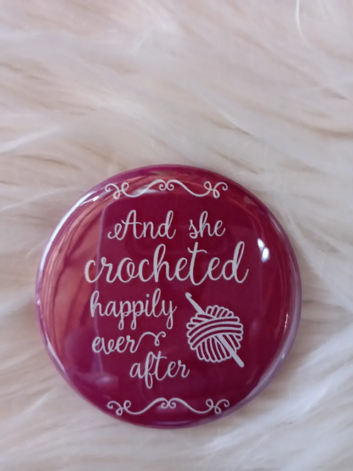 And she crocheted happily ever after button