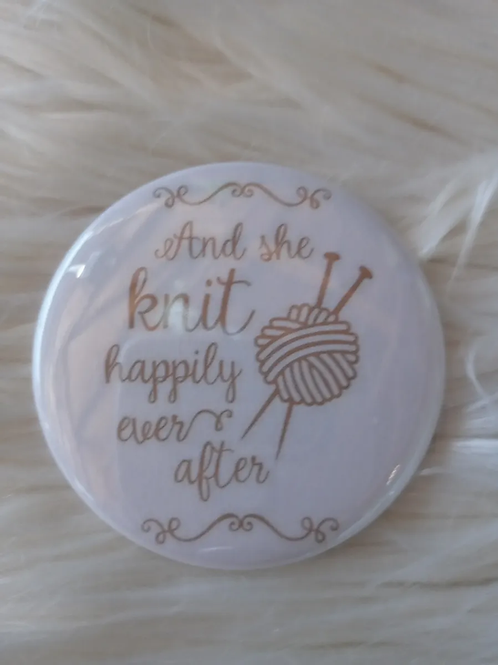 And she knit happily ever after button