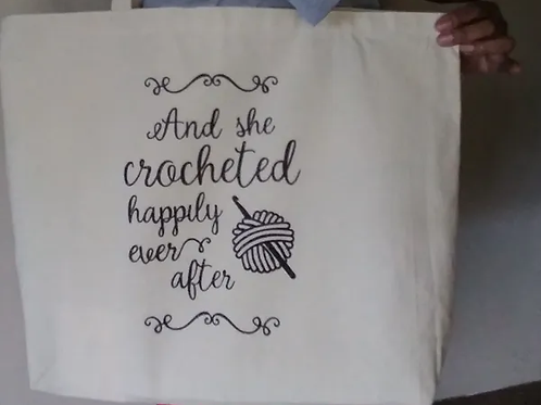 Crocheted Happily Ever After tote bag