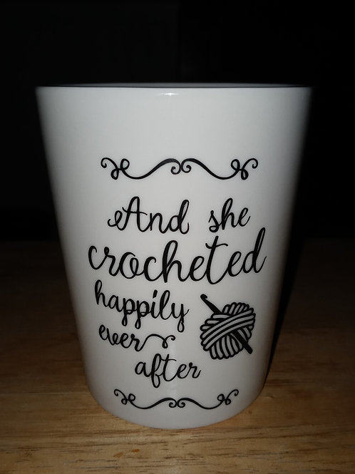 And she crocheted  happily ever after coffee mug