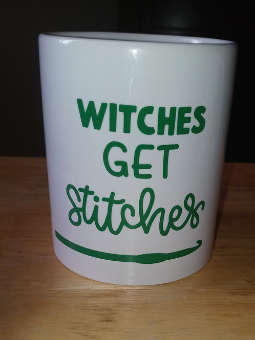Witches get stitches coffee mug