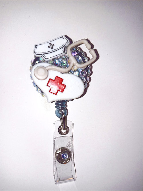Stethoscope Rhinestone Badge Reel