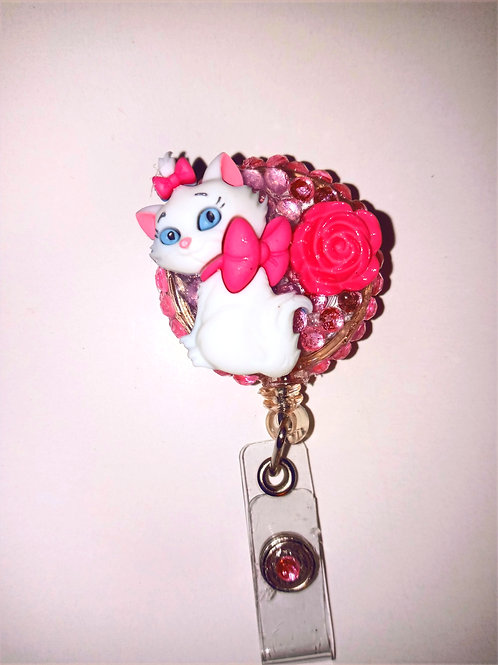 Pink Kitty Rhinestone Badge Reel