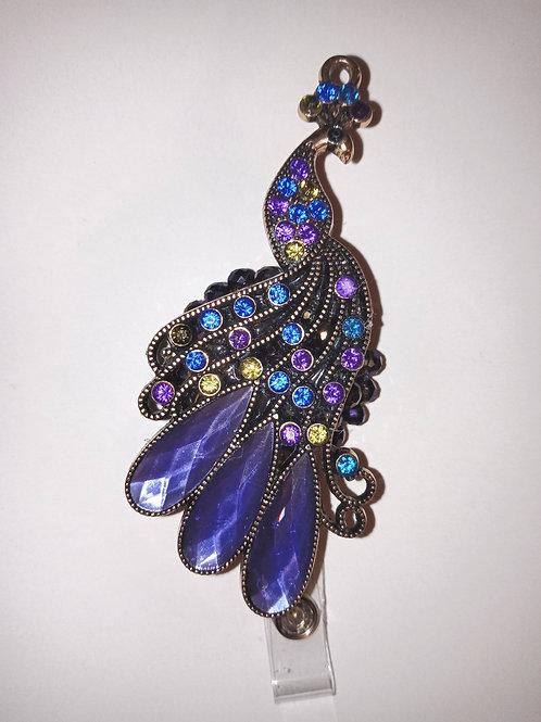 Peacock Rhinestone Badge Reel
