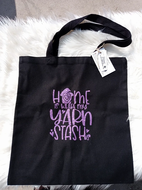 Home is where my yarn stash is tote bag