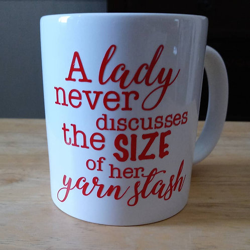 A lady never discusses the size coffee mug