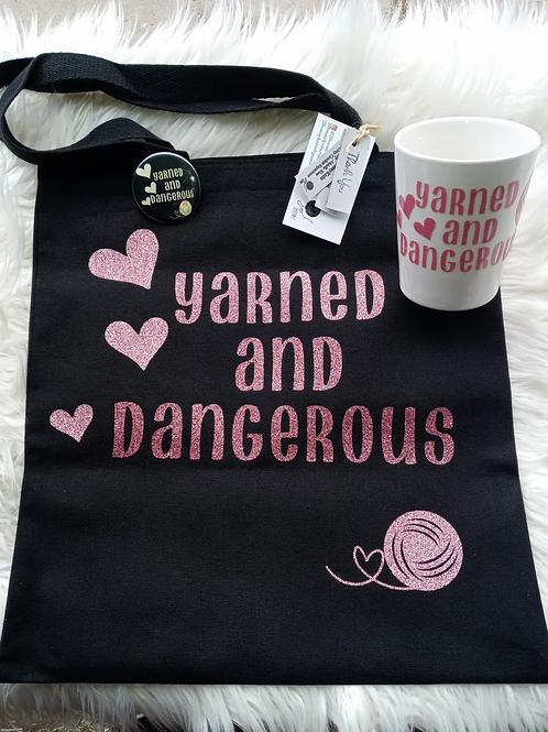 Yarned & dangerous bag, button, & mug bundle