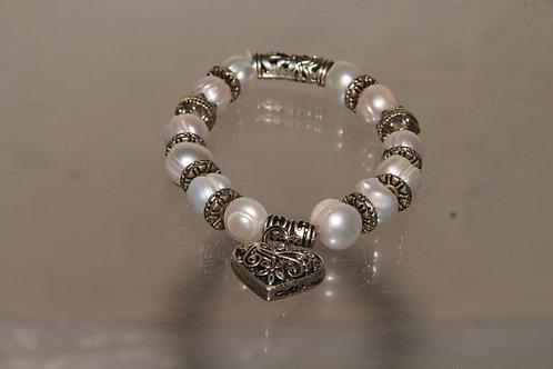 Pearl Heart Locket Bracelet