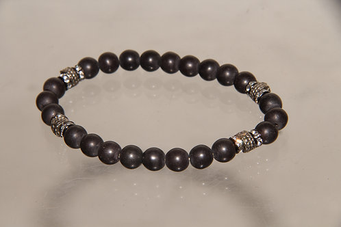 Custom Black Bead Metal Bracelet