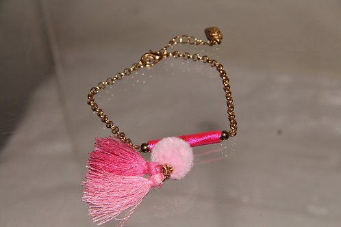 Pink & Gold Chain Bracelets