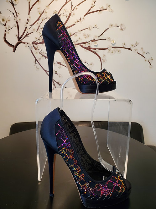 Authentic CASADEI PUMP SILK WITH CRYSTAL