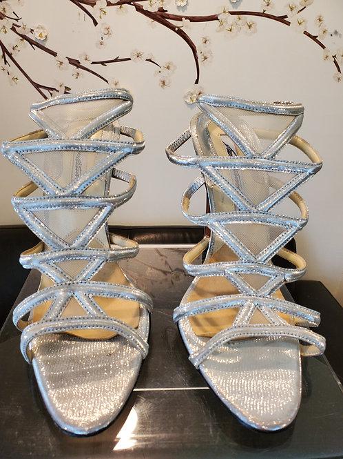 Brian Atwood designer shoe silver strappy