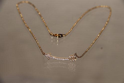 Gold & Crystal Arrow Necklace