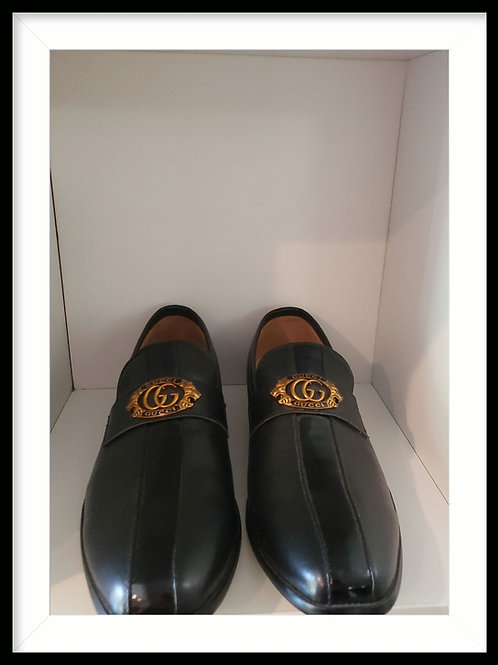 Mens Gucci leather and patten leather dress shoe