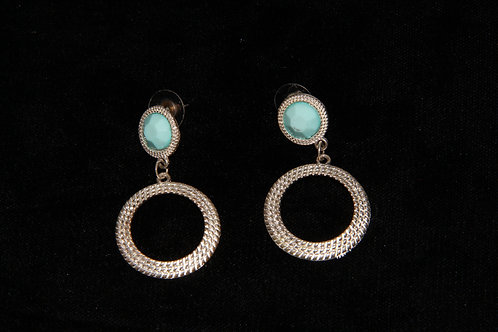 Turquoise Stone & Hoop Earrings