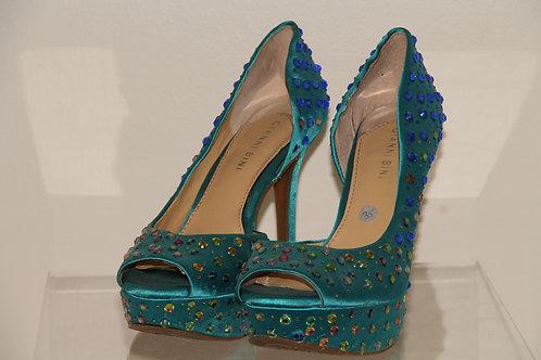 Gianna Bini Heels teal with crystals