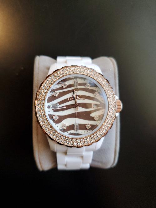 Designer watch zebra print rose gold white how Micah bank