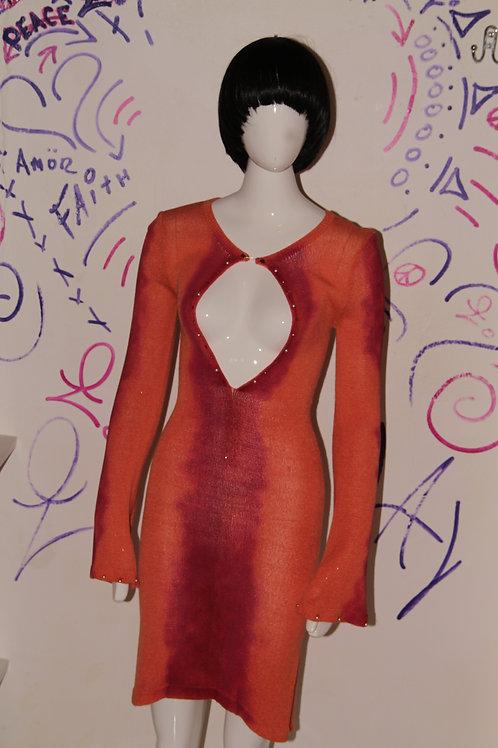 Alehandra jackson knit dress orange