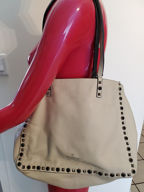 All leather and studs reversible Valentino tote bag