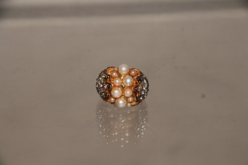 Gold Tone Pearl Ring