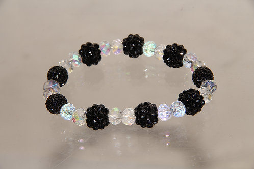 Custom Black Floral Crystal Bracelet