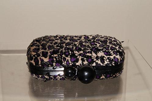 Black & Purple Floral Handbag