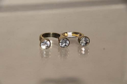 Gold & Crystal Double Ring