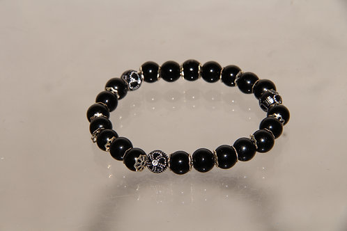 Custom Black Pearl Bead Bracelet