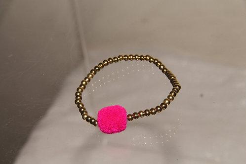 Gold & Pink Fur Bracelet
