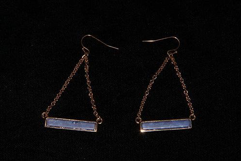 Blue Stone Gold Chain Earrings
