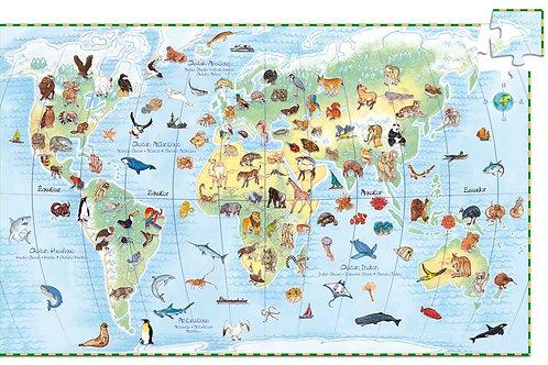 Puzzle Planet mit Tieren - 100 Teile von Djeco