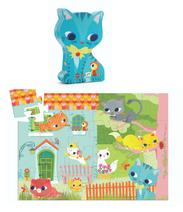 Djeco Puzzle Katze  Ein wunderschönes Puzzle mit Katzen-Motiv. Das Puzzle zeigt niedliche Kätzchen, die fröhlich herumtollen. Findest du das kleine Vögelchen?  Inhalt: 24 Teile  AR Nr. 7207