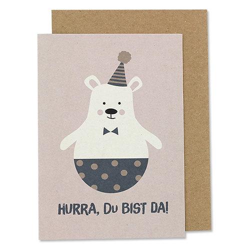 """Klappkarte Eisbär mit Hütchen – """"Hurra, Du bist da"""""""