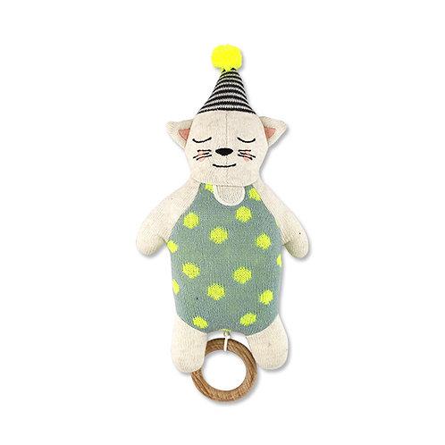 Strickspieluhr Katze mit Hütchen