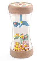 Djeco Wunderschöner Regenmacher aus Naturholz.  Lackiert in zarten Pastelltönen.   Bei Bewegung erzeugen die bunten Perlen und Widerstände im Inneren faszinierende Regengeräusche.  Maße Rassel: 4,7 x 9,7cm  Alter: ab 3 Monate  AR Nr.: 6101