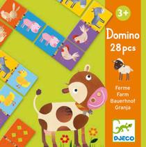 Djeco Domino Bauernhof   Der Spieleklassiker Domino im tollen Design! Auf 28 Karten sind niedliche Bauernhoftiere oder Muster abgebildet. Beim Spielen werden Konzentrations- und Beobachtungsvermögen gefördert! Übrigens: wenn man schon zählen kann, können die Karten auch umgedreht werden - auf der Rückseite sind Symbole in der Anordnung von Würfelaugen abgebildet. Eine tolle Beschäftigung für Kinder ab 3 Jahren. Inhalt: 28 Teile (10 x 5 cm)  AR Nr. 8158