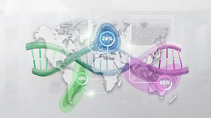 View of a DNA over a world map with geog