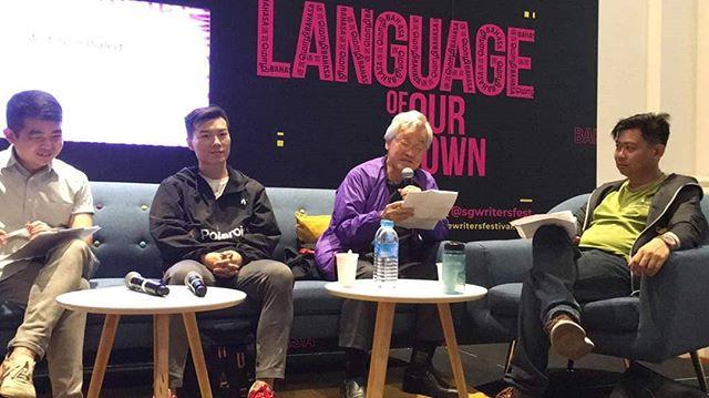 """新加坡作家節 ——""""书写方言""""座谈會 左起:Thomas Lim (多语剧场《祖"""
