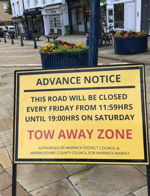 CJ Events tow away sign