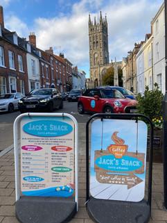 Jack's shack swing board signs