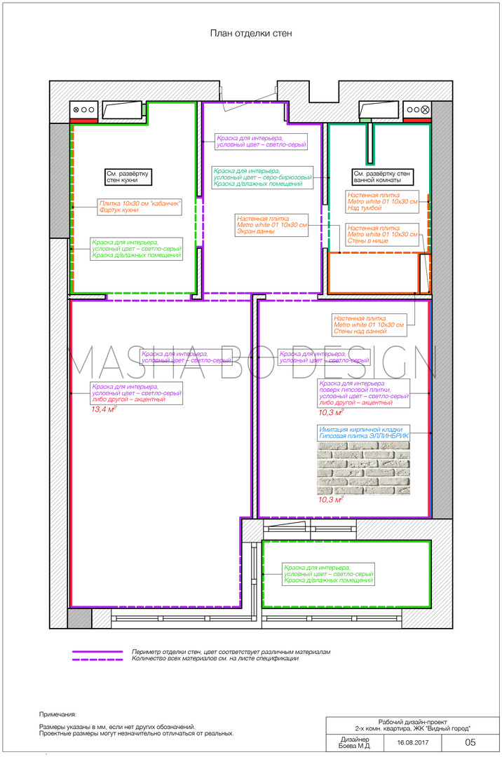 План отделки стен