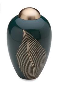 Elegant Leaf Emerald Brass Urn
