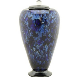Bluefire Hand Blown Glass Urn