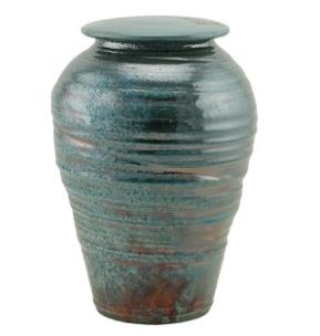 Turquoise Lustre Raku Ceramic Urn