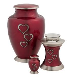 Loving Hearts Brass Urn