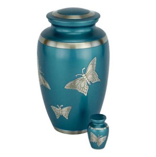 Blue Engraved Butterfly Brass Urn